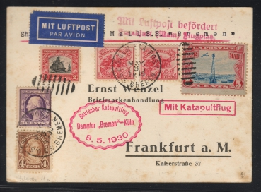 Catapult Flight Card from the Steamer Bremen 1930 to Frankfurt !