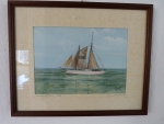 Water Colour Painting by F. Nieder : German Pilot Cutter Elbe !
