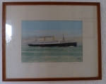 Water Colour Painting by F. Nieder : German Liner Columbus !